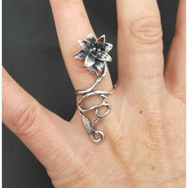 Zilveren ring bloem verstelbaar