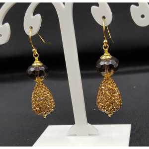 Gold plated earrings Smokey Topaz, and drop with golden crystals