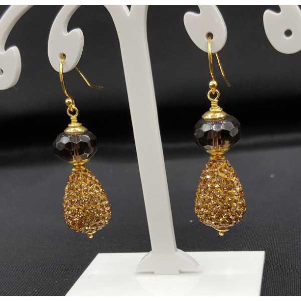 Vergoldete Ohrringe Smokey Topas und drop mit Goldenen Kristallen