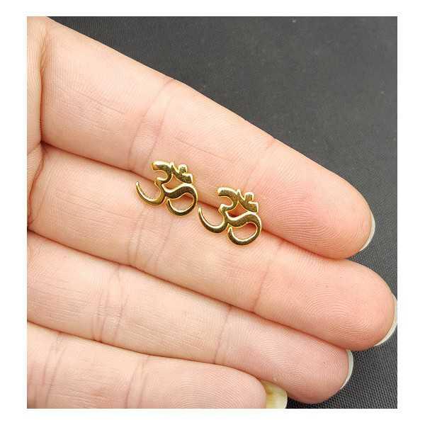 Oorknoppen met Ohm teken zilver of goud