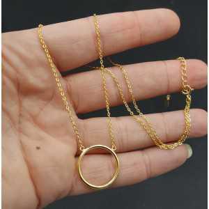 Ketting met cricle hanger zilver of goud