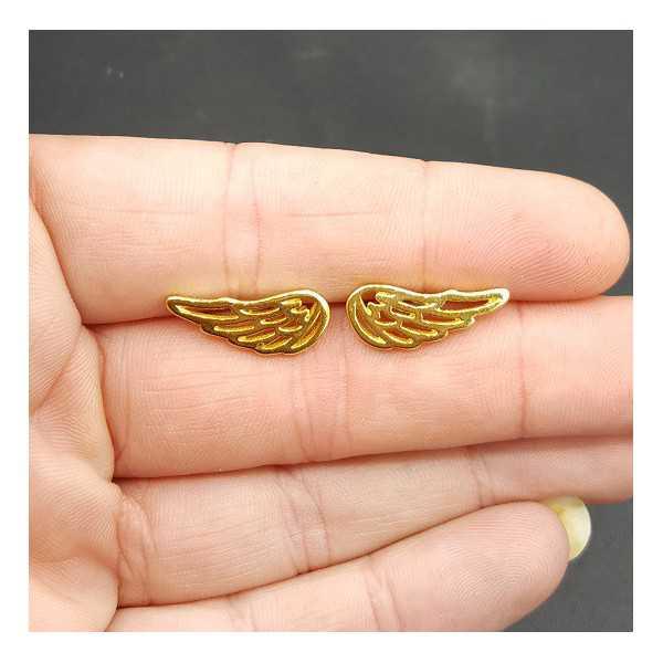 Oorknoppen vleugel in zilver goud of rose goud