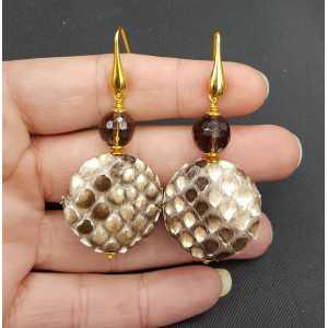 Earrings with Snakeskin / Snakeskin and Smokey Topaz