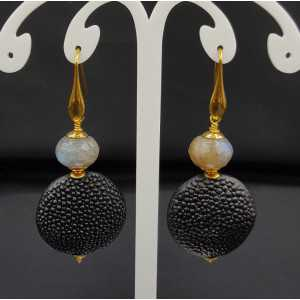 Earrings with Labradorite and black Roggenleer