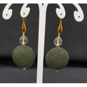 Ohrringe mit grünem Amethyst und grün Roggenleer
