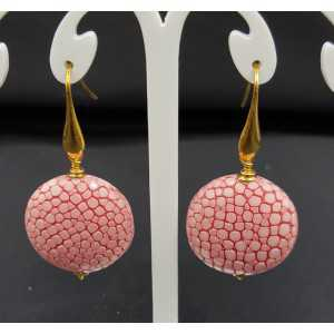 Earrings with light pink Roggenleer