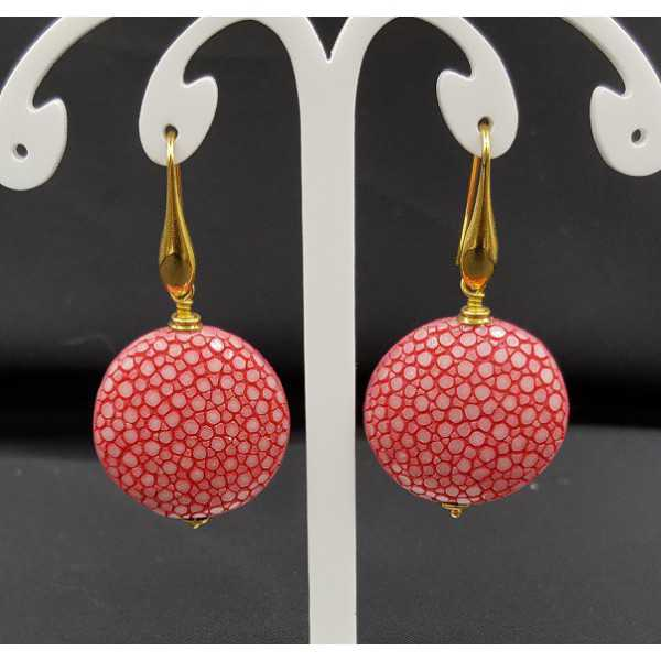 Earrings with dark pink Roggenleer