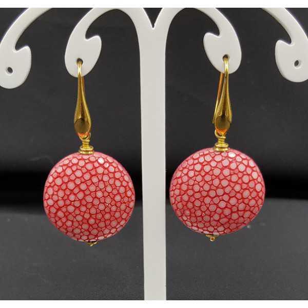 Oorbellen met donker roze Roggenleer