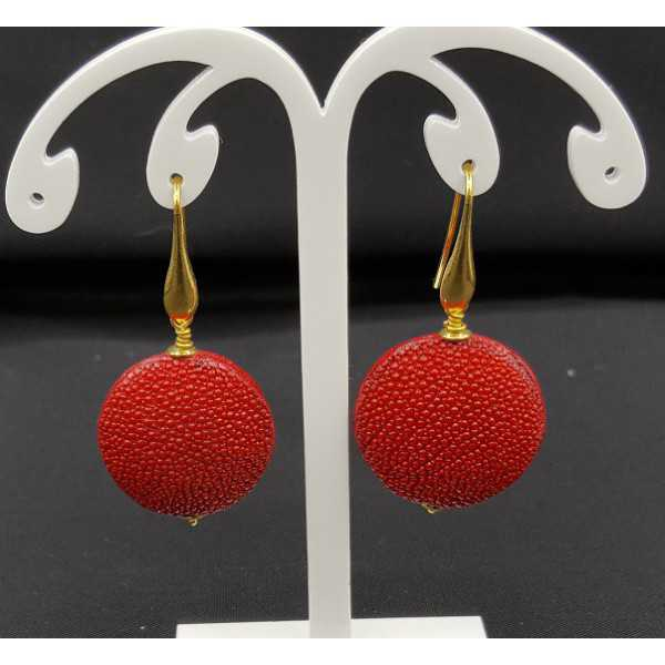 Earrings with red Roggenleer