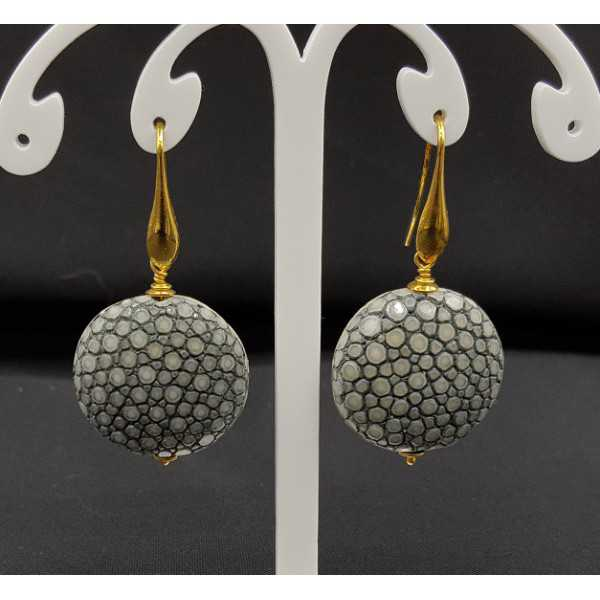 Earrings with grey Roggenleer