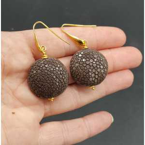 Earrings with brown Roggenleer