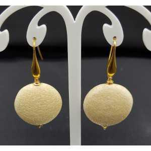 Earrings with beige Roggenleer