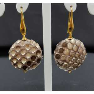 Earrings with natural Snakeskin
