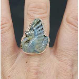 Silber ring set mit Schwan Boulder Opal 19.3 mm