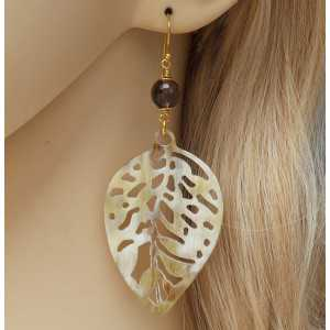 Gold plated drop earrings cut out leaf of buffalo horn and Smokey Topaz