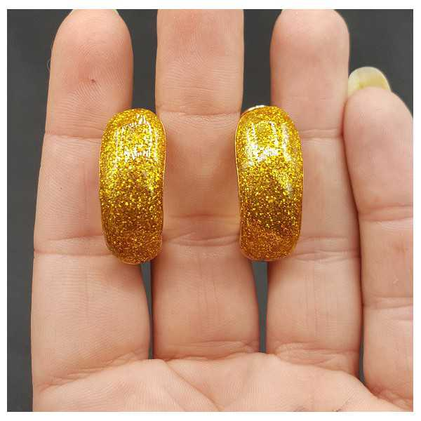 Gold wide gold glitter creoles