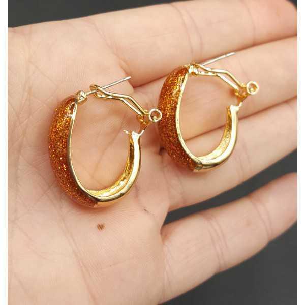 Gold breit orange Glitzer-Kreolen
