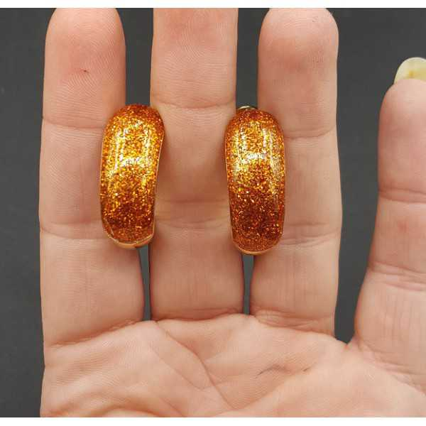 Gold wide orange glitter creoles