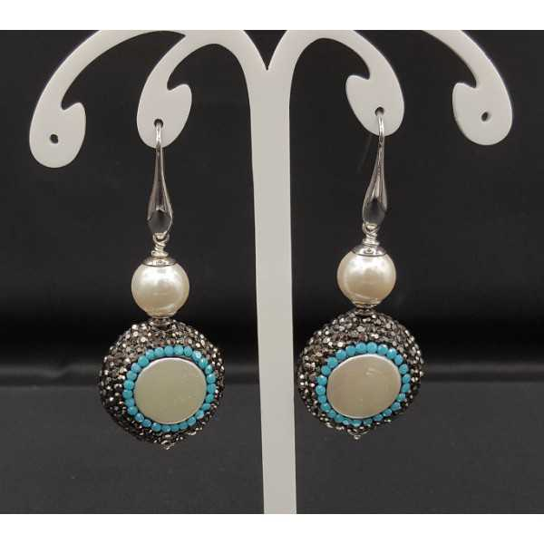 Earrings with Pearl, black and Turquoise blue crystals