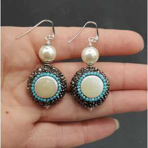 Silver earrings with Pearl black and Turquoise blue crystals