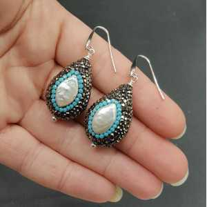 Earrings set with Pearl black and Turquoise blue crystals