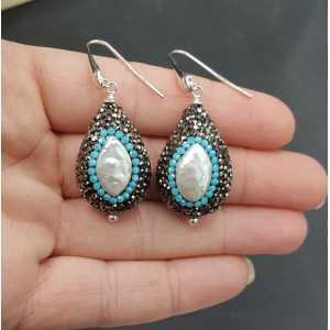 Ohrringe-set mit Perlen-schwarz und Türkis-blau Kristalle