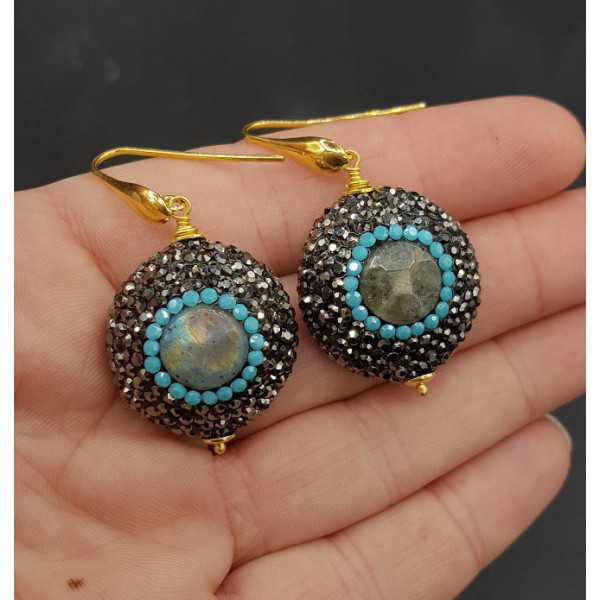 Earrings set with Labradorite black and Turquoise blue crystals