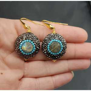 Ohrringe-set mit Labradorit schwarz und Türkis-blau Kristalle