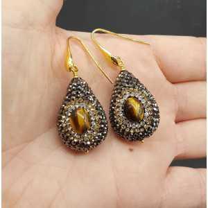 Ohrringe-set mit tiger ' s eye und schwarze Kristalle