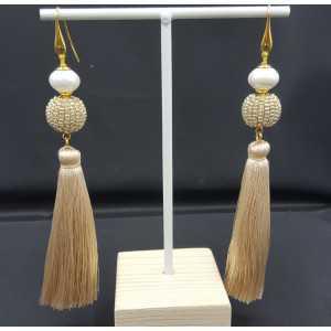 Vergoldete Ohrringe ball der goldene Perlen Quaste und shell Perle