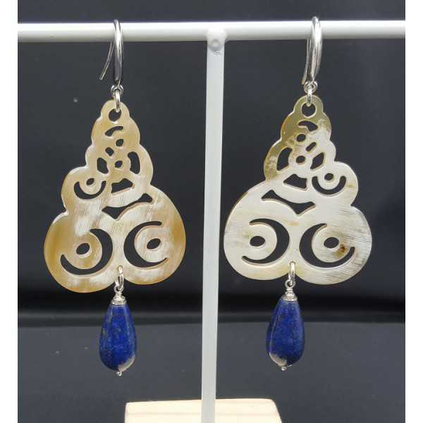 Ohrringe mit Büffelhorn und Lapis Lazuli