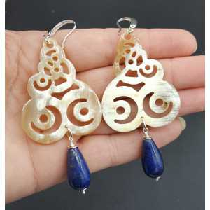 Earrings with buffalo horn and Lapis Lazuli