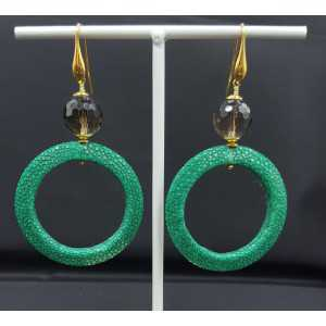 Earrings with open ring of green Roggenleer and Smokey Topaz