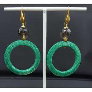 Ohrringe mit offenem ring von green Roggenleer und Smokey Topaz