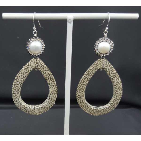 Ohrringe mit offenem drop Grau Roggenleer Perle und Kristallen
