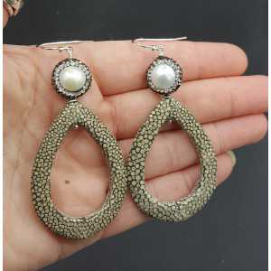 Earrings with open drop grey Roggenleer Pearl and crystals