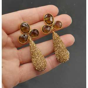 Goud vergulde oorbellen met Smokey Topaas en druppel van gouden kristallen