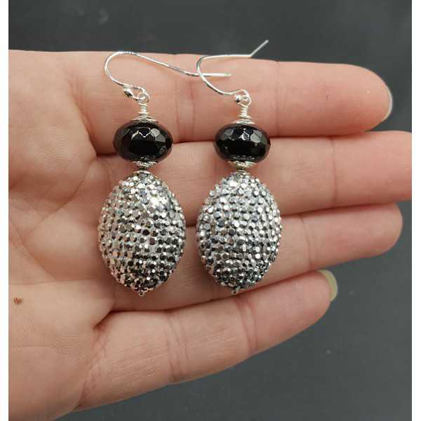 Silver earrings with black Onyx and silver crystals