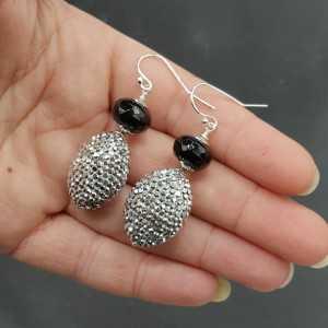 Silber Ohrstecker mit schwarz Onyx und Silber Kristalle