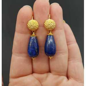 Goud vergulde oorbellen met Lapis Lazuli briolet