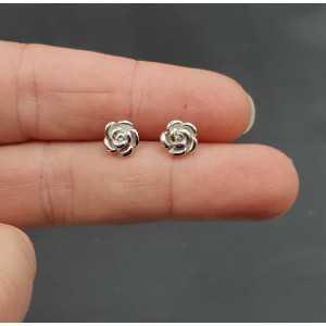 Silver oorknopjes flower