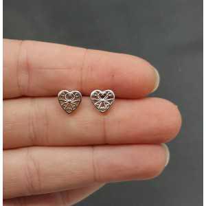 Zilveren oorknopjes open bewerkt hartje