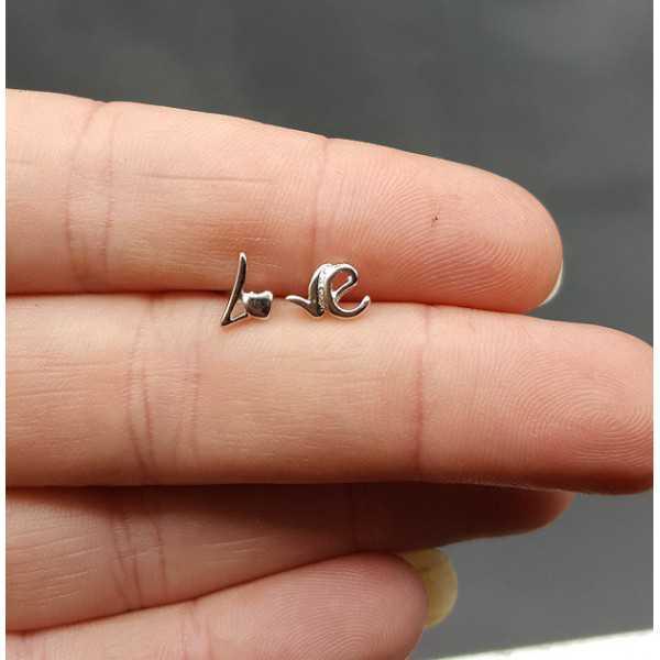 Silver oorknopjes Love
