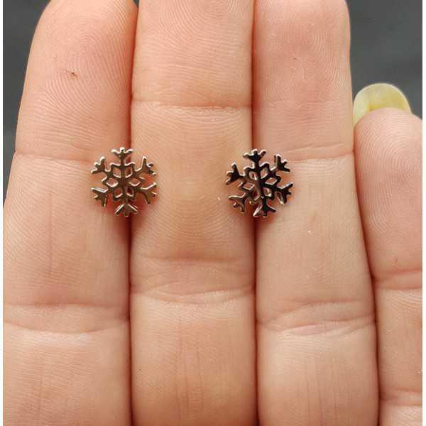 Silver oorknopjes snowflake