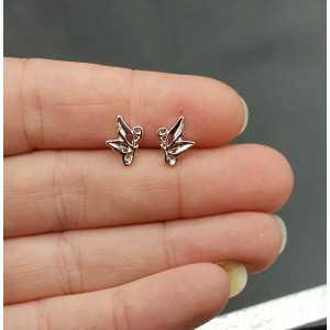 Silver oorknopjes butterfly