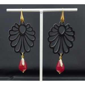 Earrings with carved black buffalo horn and red Jade