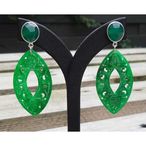 Silver earrings with carved Jade and green Onyx