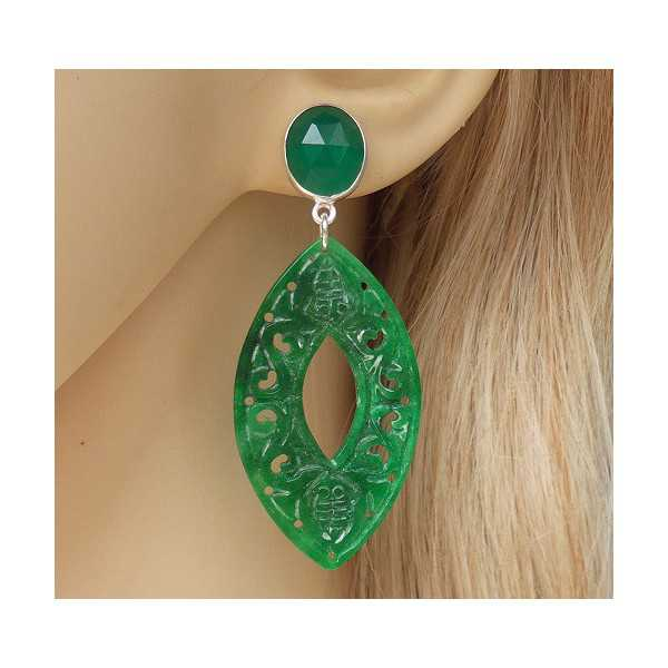 Silber Ohrringe mit geschnitzten Jade und grüner Onyx