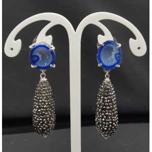 Silber Ohrringe mit Achat-geode-and-drop-Kristalle