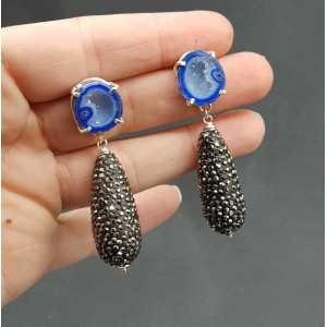 Silver earrings with Agate geode and drop crystals
